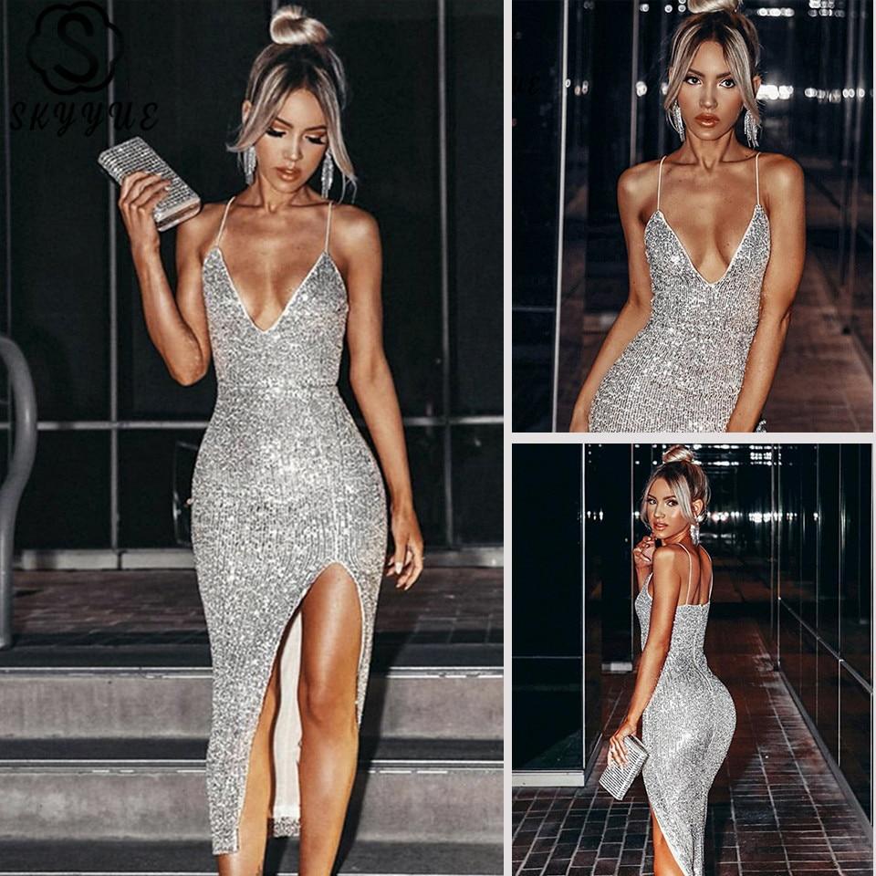 Skyyue Prom Dress V-Neck Sequined Sleeveless Prom Dresses 2020 Solid Spaghetti Strap Split Backless Vestidos De Gala K132