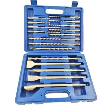 Electric Hammer Drill 17 Piece Set Electric Hammer Drill Bit Chisel Plastic Box Set 17Pcs Drill Bit Set