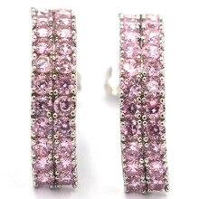 Elegant Tanzanite, CZ Womans Wedding Engagement 925 Gold Silver Earrings 28x13mm