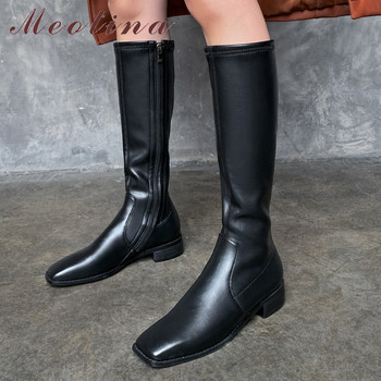 Meotina Riding Boots Women Shoes Real Leather Mid Heel Knee-High Boots Square Toe Block Heels Zip Lady Long Boots Autumn Winter