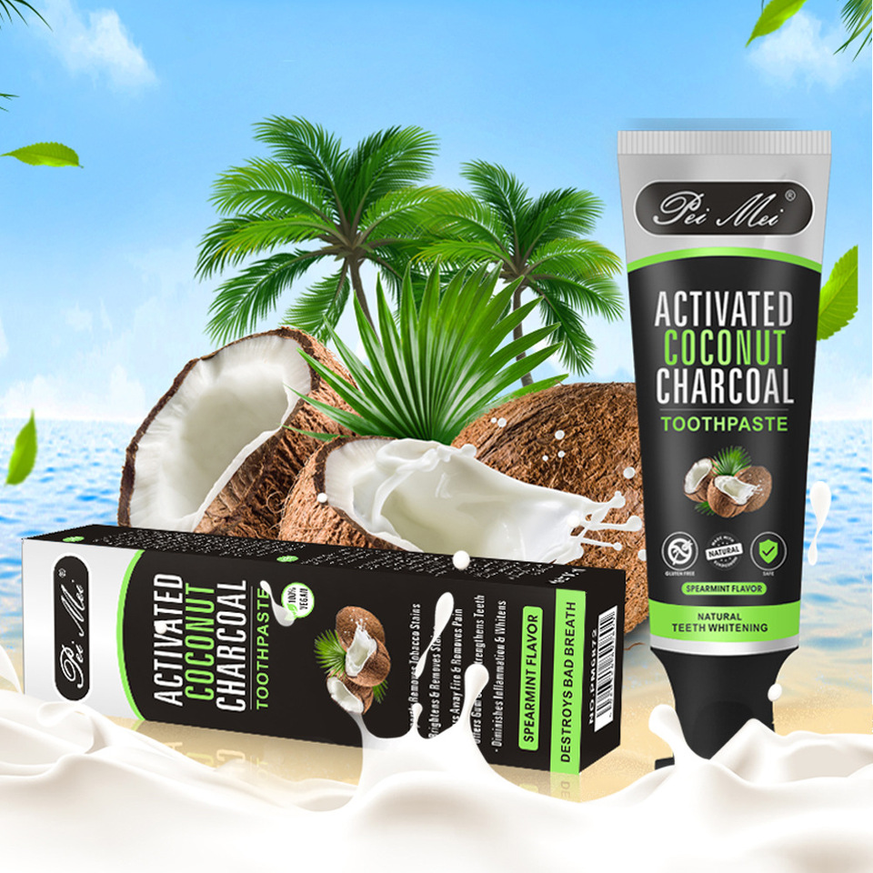 100g Coconut Oil Toothpaste Shell Activated Charcoal Teeth