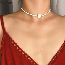 Salircon Fashion Delicate Rice Beads White Clavicle Necklace Heart Geometric Irregular Iimitation Pearl Chain Women