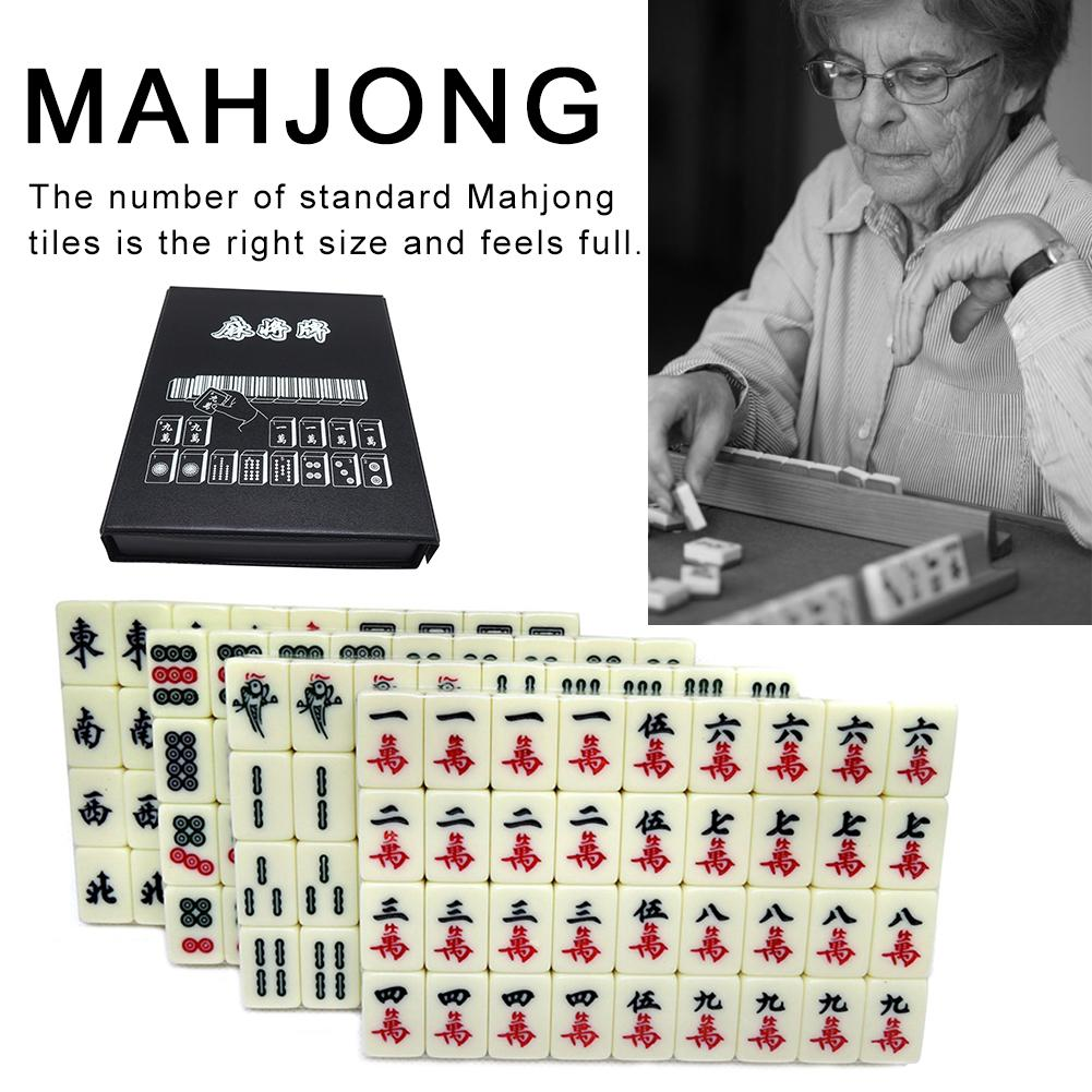 Chinese Numbered Large Acrylic Tiles Portable Carving Travel Mahjong 2CM Premium Mahjong Set 144 For Family Party Table Game