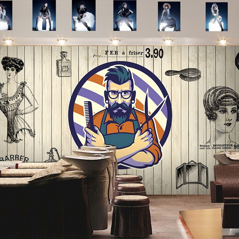 Drop Shipping  Custom Photo Wallpaper European Fashion Brick Wood Mural Barber Shop Beauty Salon Decoration Background Wallpaper