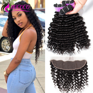Mscoco Hair Deep Wave Bundles with Frontal Remy Brazilian Human Hair Weave 3 Bundles HD Transparent Lace Frontal With Bundles(China)