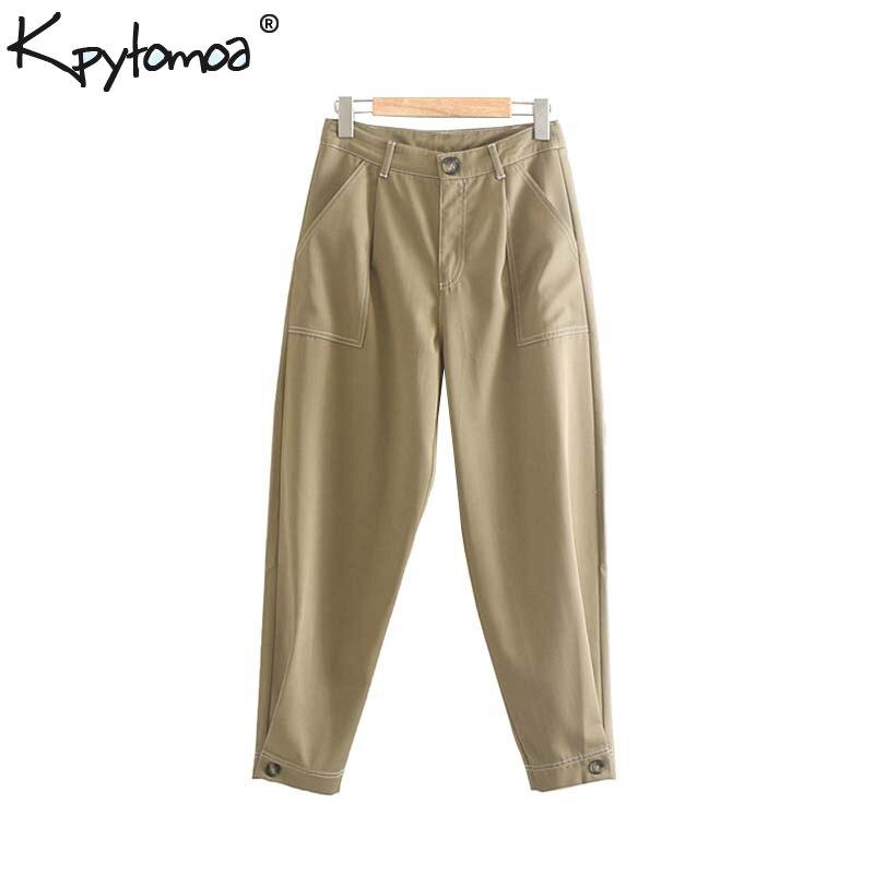 Vintage Stylish Office Lady Pockets Harem Pants Women 2019 Fashion Zippy Fly Basic Ladies Ankle Trousers Pantalones Mujer