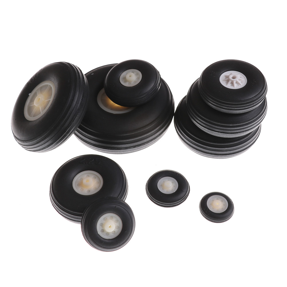 2pcs Replacement Parts Black,White Tail Wheel Rubber PU Plastic Hub 1 - 3.5 Inch For RC Airplane image
