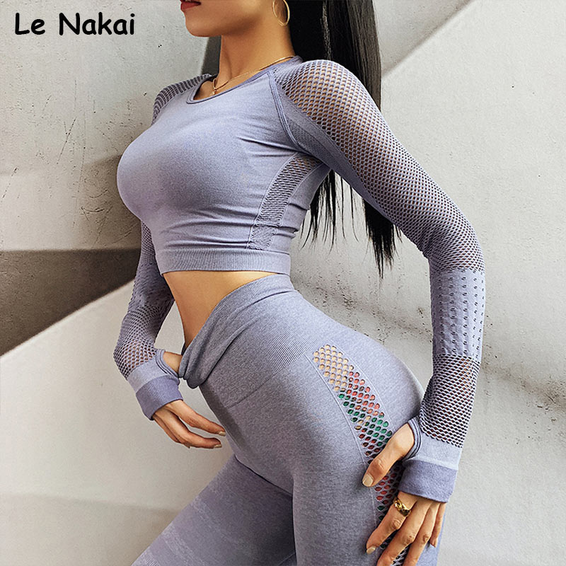 2 piece set women workout clothes long sleeves shirts seamless gym crop top high waist seamless leggings workout gym clothing