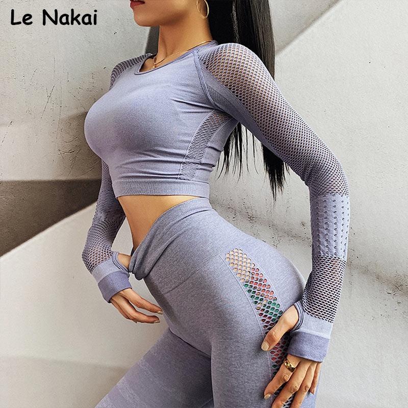 2 piece set women workout clothes long sleeves shirts seamless gym crop top high waist seamless leggings workout gym clothing
