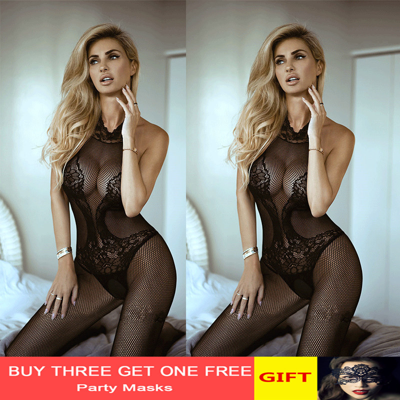 bodysuit sexy Bodystocking Women Sexy erotic Lingerie black fetish body porno underwear Crotchless babydoll costumes
