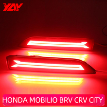 Car Flashing 2Pcs LED Reflector Lamp Rear Fog Lamp Rear Bumper Light Brake Light For Honda BRV 2015 2016 MOBILIO 2014 CITY CRV