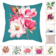 Fuwatacchi Colorful Flowers Pillow Covers Merry Christmas Decor Cushion Cover for Home Sofa Decorative Throw Pillowcases 45*45cm