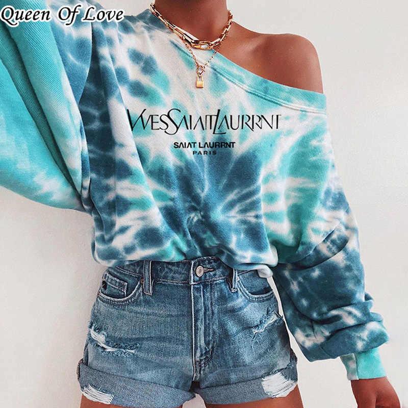 Women Long Sleeve Sweatshirt Plus Size Colorblock Tie Dye Printed Pullover Tops