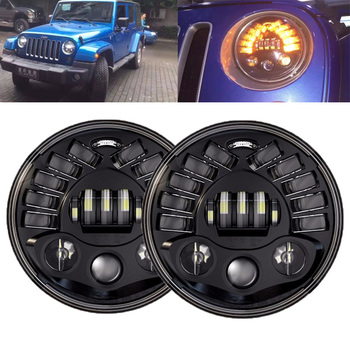 For Lada Niva 7'' led Headlight Hi/Low H4 DRL Light Halo left/Right Amber Turn signal Headlamp for Jeep Wrangler Off road 4x4
