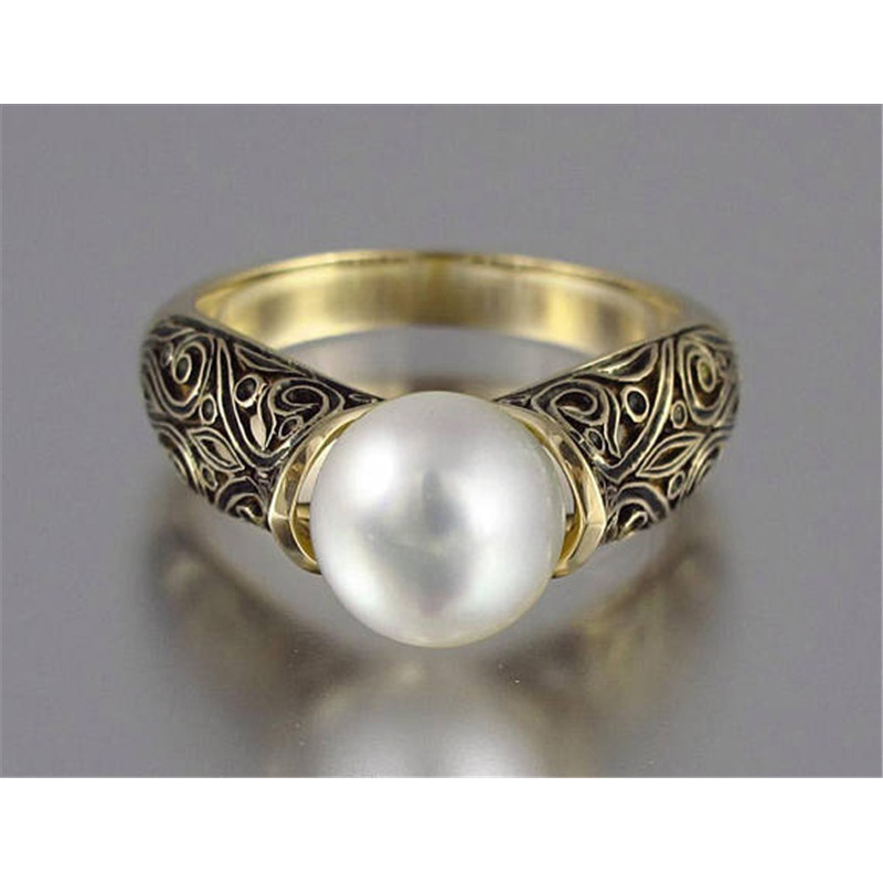 Fashion Imitation Pearl Ring Jewelry Elegant Vintage Pattern Wedding Ring for Women Accessories Party Women's Rings 1