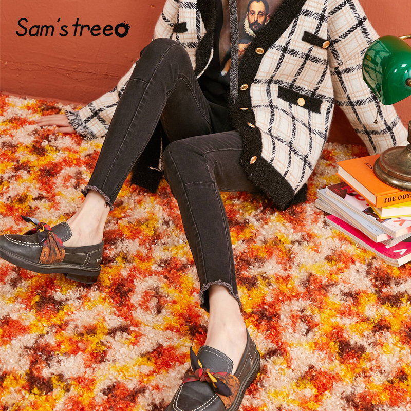 SAM'S TREE Black Solid MInimalist Style Washed High Waist Jeans Women 2019 Winter Pure Skinny Office Ladies Daily Pants