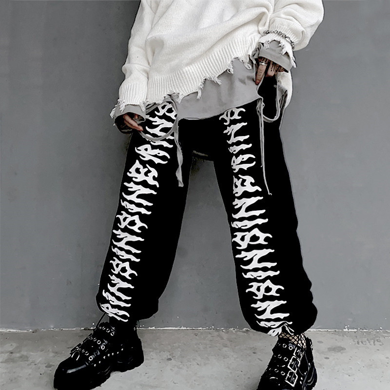 Focal20 Streetwear Hip Hop Dark Letter Print Women Jogger Pants Elastic Waist Loose Female Trousers Casual Autumn Lady Bottoms