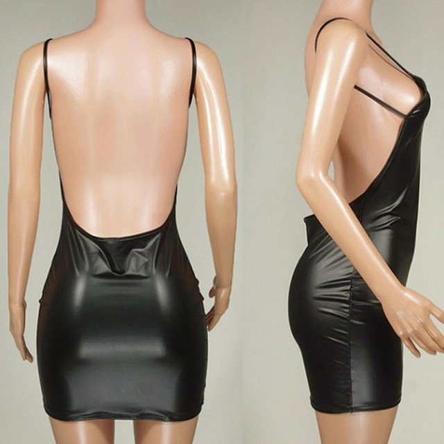 Sexy Faux Leather Dress Backless Club Party Short Dress Solid Black Wet Look Latex Bodycon Push Up Bra Mini Micro Dress 5