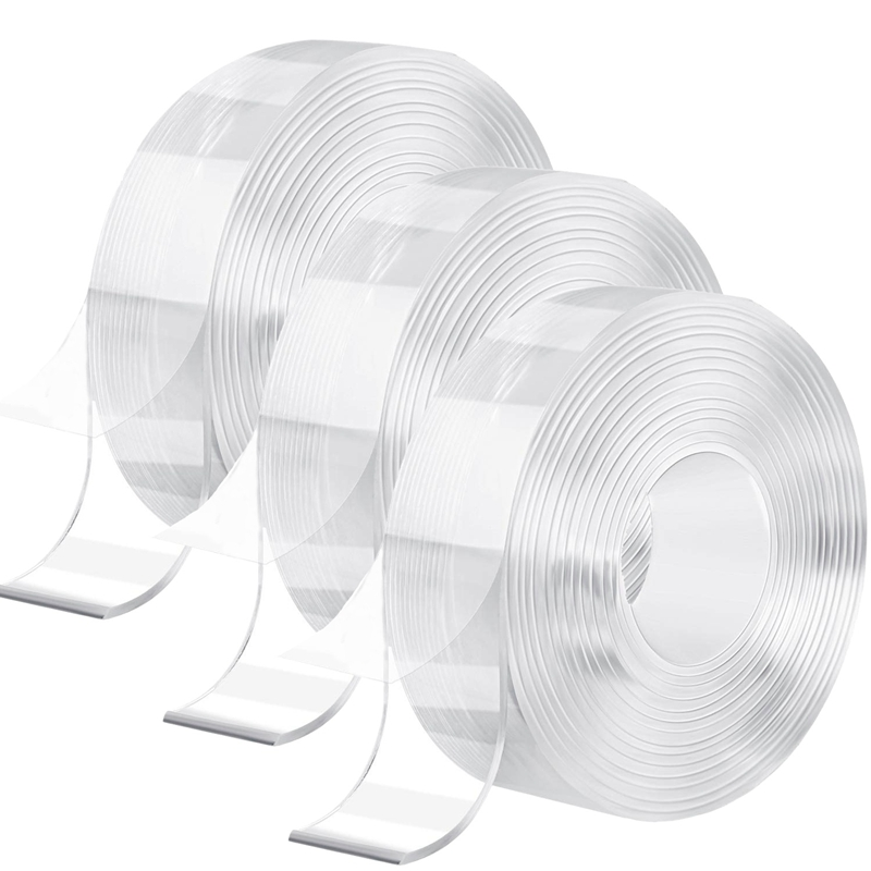 3 Rolls Gel Tape Transparent Multi-Functional Tape Removable Double Sided Adhesive Tape Traceless Washable Gel Tape for Home Wal