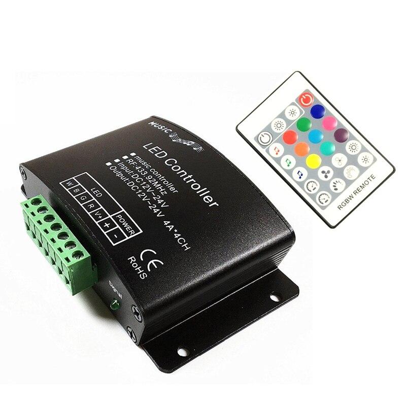 DC12V-24V Music LED Controller 24Keys RGB / RGBW RF Remote Sound Sensor Voice Audio Control For 5050 RGB LED Strip Light Tape
