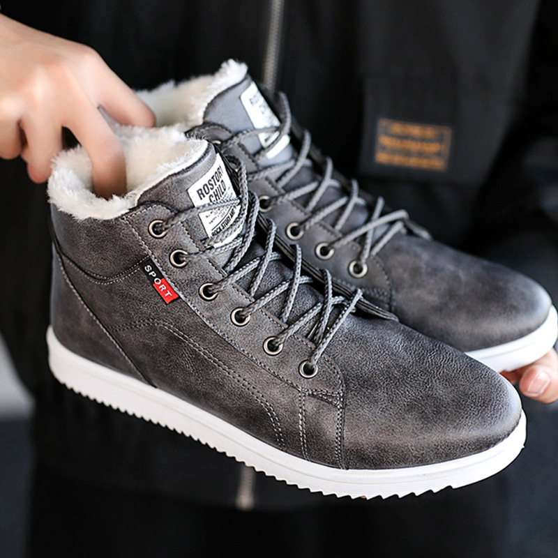 Men Winter Boots With Plush Leather Fleeces Cotton Shoes Warm Waterproof Design Black Gray Snow Boots Platform Causal Sneakers