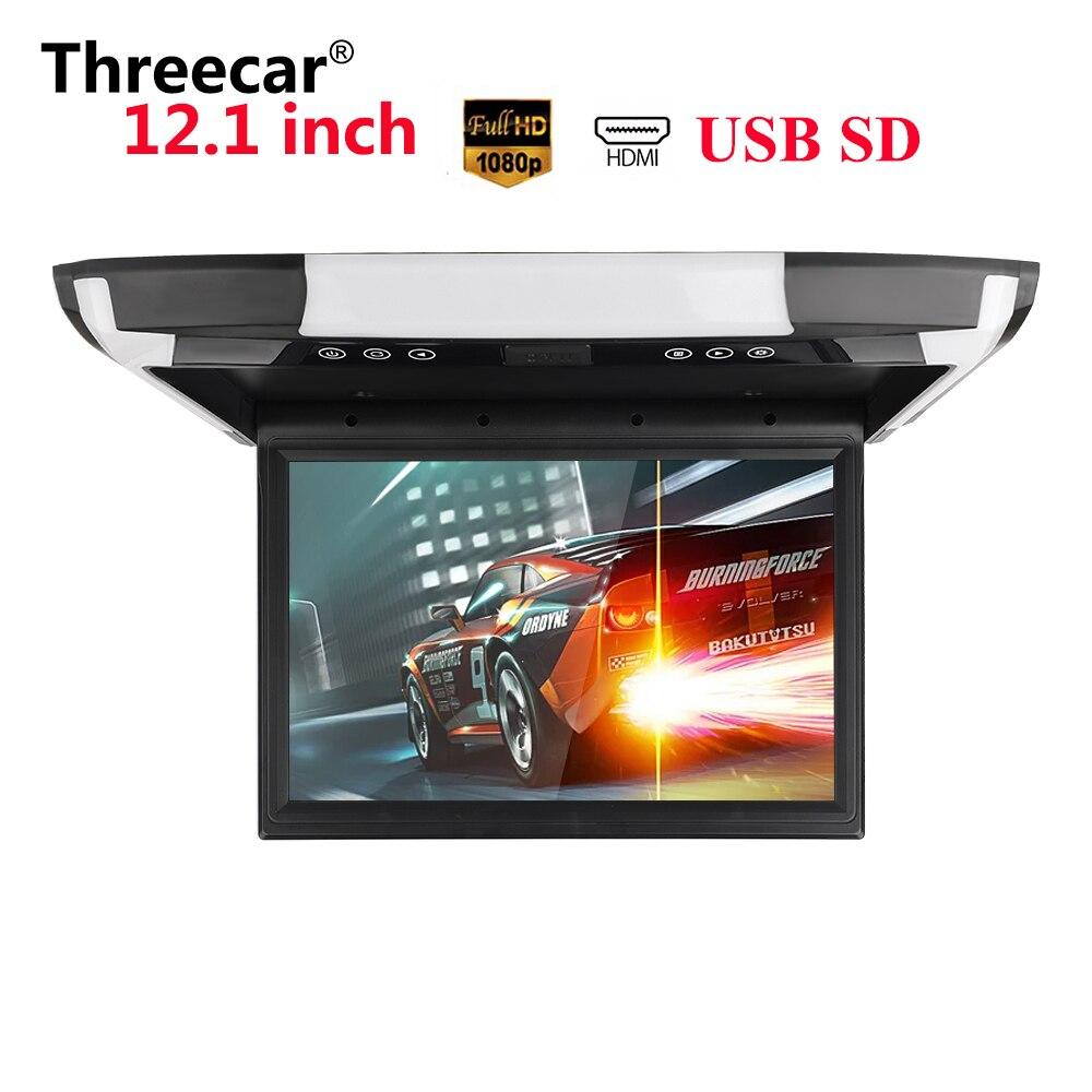 12 pouces moniteur 1080P vidéo HD écran TFT numérique écran large Ultra-mince monté voiture toit lecteur HDMI AV FM USB SD MP5 pas de DVD