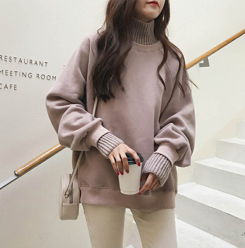 Thick Green Khaki Warm Sweatshirt Women Hooded 2019 Autumn Winter Long Sleeve Turtleneck Casual Hoodies Hooded Solid Pullover