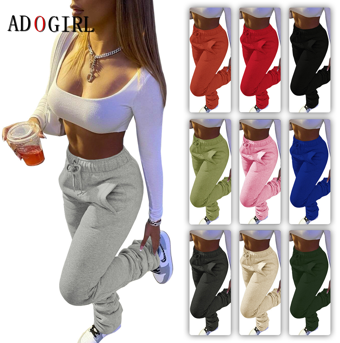 Casual Solid Stacked Sweatpants Women Casual Elastic Waist Jogger Trousers Autumn Winter Thick Warm Ruched Legging 7 Color 3XL|Pants & Capris| - AliExpress