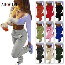 Casual Solid Stacked Sweatpants Women Casual Elastic Waist Jogger Trousers Autumn Winter Thick Warm Ruched Legging 7 Color 3XL