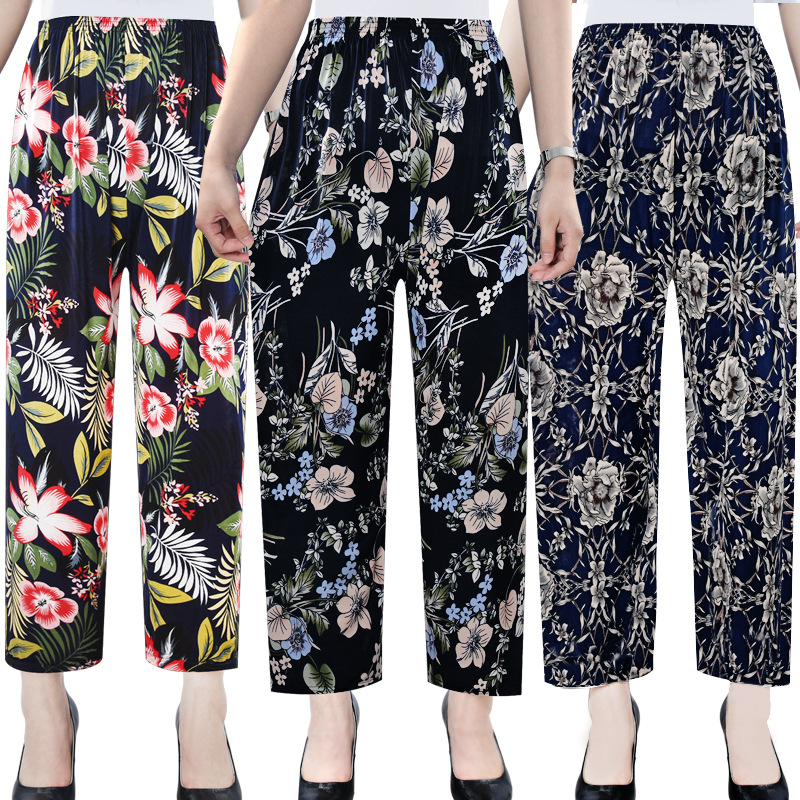 Summer Pants 2020 New Women Casual Loose Thin Straight Pants Slim High Waist Floral Print Trousers Beach Capris Ladies Clothing