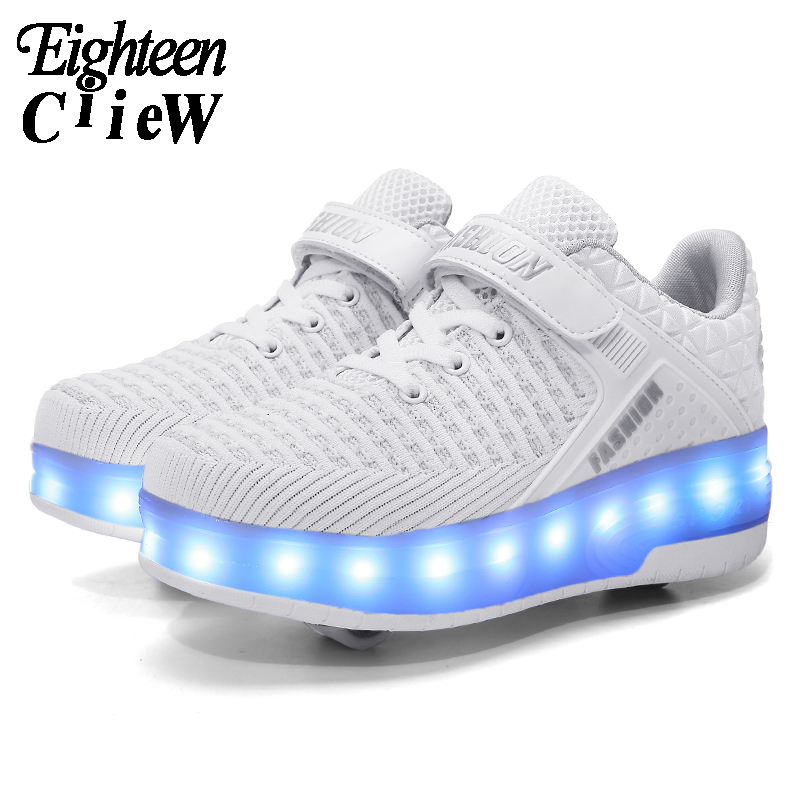 Size 29-40 Glowing Sneakers USB Charging Girls Led Shoes White Sneakers Rollers For Boys Children's Shoes With Two Wheels