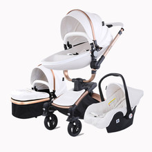 Luxury Baby Stroller Car Seat Bassinet Carriage Combo 360 Rotation Shock-Resistant High Landscape Pram for Newborn 0-36M