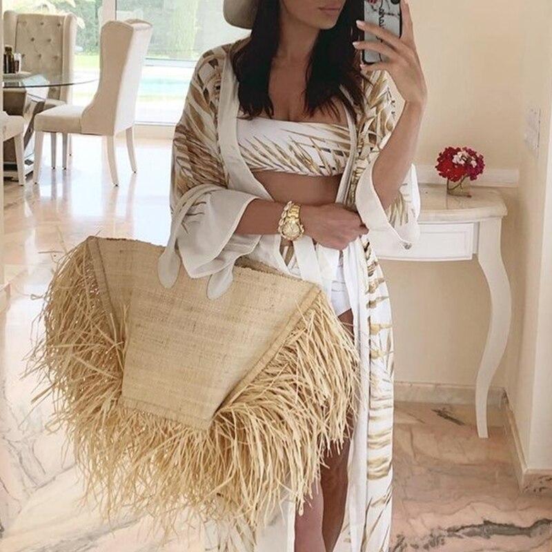 Vita alta bikini set Tropicale foglia costume da bagno Una spalla