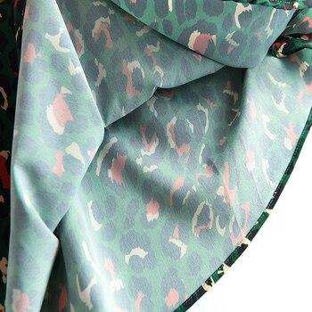 2020 Colorful Leopard Print Long Skirt Fashion Women Ladies Green High Waist Split A-line Maxi Skirt Female 6