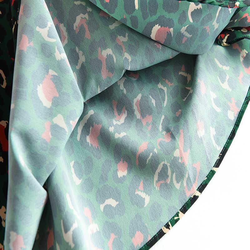 2020 kolorowe Leopard Print długa spódnica moda damska damska zielona wysoka talia Split A-line Maxi spódnica kobieta