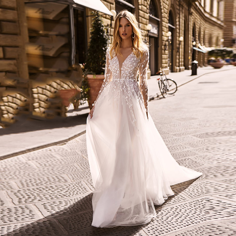 Boho Wedding Dress 2020 Long Sleeves Wedding Gowns Lace Appliques Bohemian Bride Dress Beach A Line Vestido De Noiva Sereia