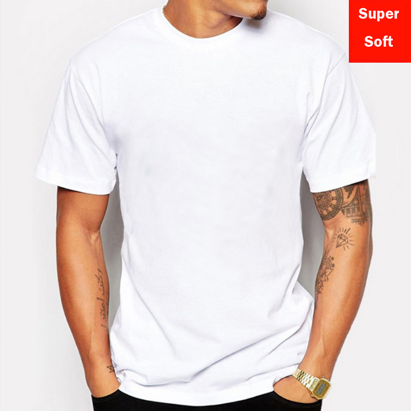Man Summer Super soft white T shirts Men Short Sleeve cotton Modal Flexible T-shirt white color Size Basic casual Tee Shirt Tops