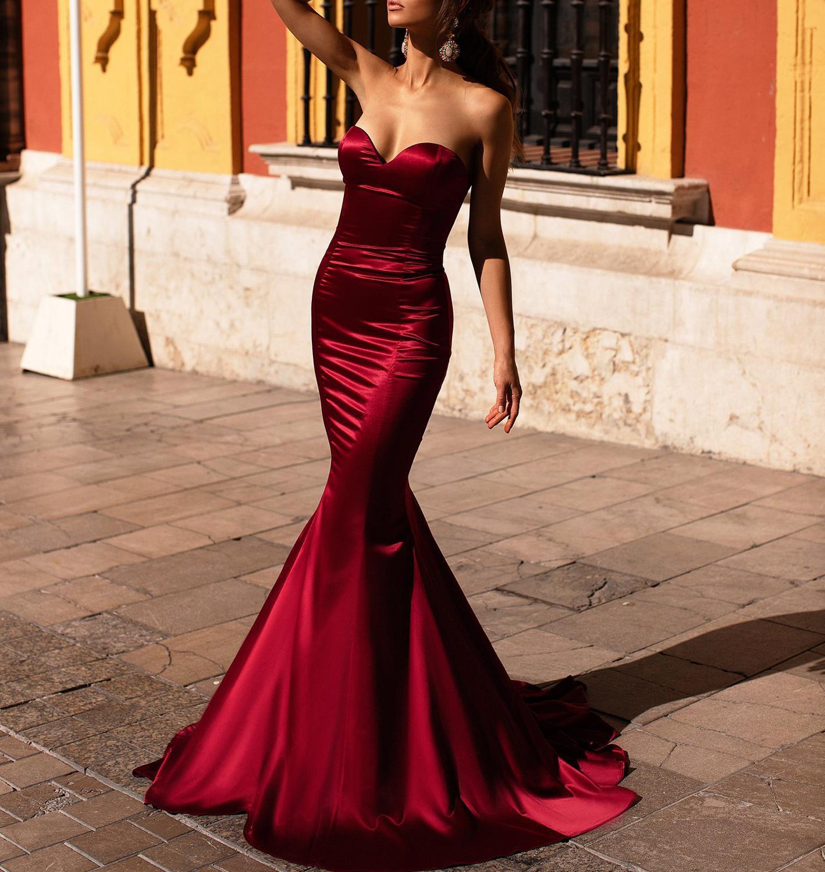 Elegant Satin Mermaid Burgundy Vestidos De Fiesta De Noche Prom Party Evening Dresses Robe De Soiree Vestidos De Fiesta De Noche