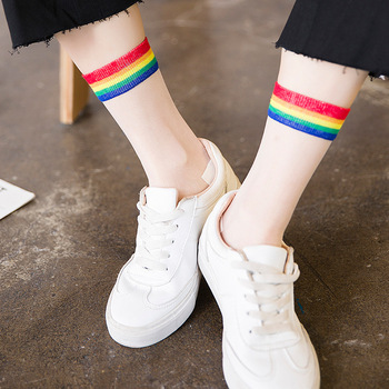 Rainbow Short Socks Women Summer Thin Harajuku Ankle Socks Hipster Art Cute Sock