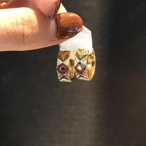 Image 3 - SLJELY Solid 925 Sterling Silver Yellow Gold Color Multicolor Zirconia Ceometric Pattern Tribel Hoop Earrings Women Mana Jewelry