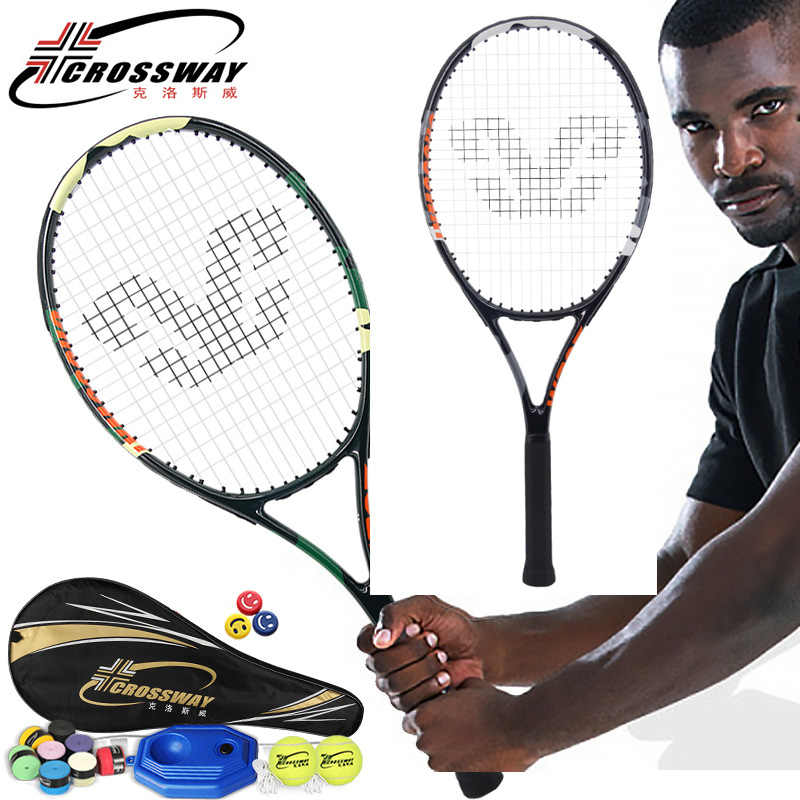 CROSSWAY Professional Tennis Racket Single Adult Carbon Paddle Men Women Universal Set With Bag Trainer Overgrip Ball Padel