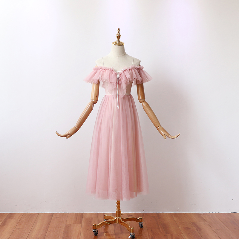 Ruffles Tea Length Pink Bridesmaid Dress Plus Size Tulle Elegant Wedding Party Dress Sexy Sister Dress Prom Azul Royal Vestido
