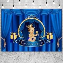 Avezano Baby Shower Photography Backdrops Blue Curtain Little Prince Boy Crown Background Photo Studio Photozone Photocall Decor