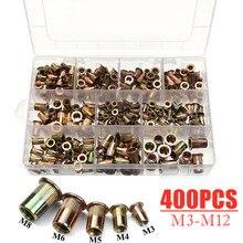 400Pcs Assorted Carbon Steel Rivet Nuts Carbon Steel M3 M4 M5 M6 M8 Flat Head Rivet Nuts