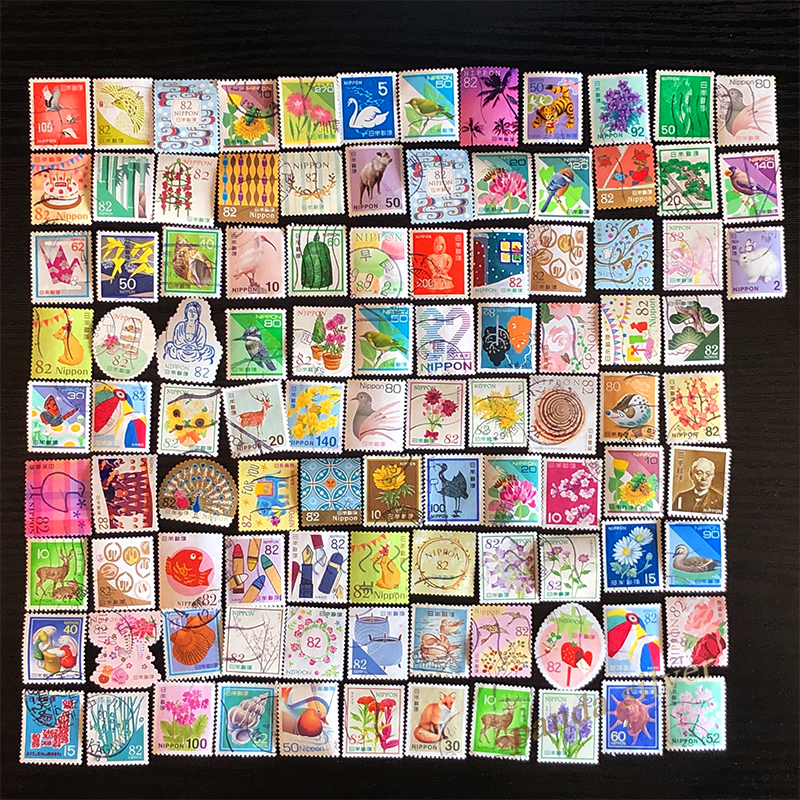 Japan 100 PCS Different Postage Stamps, Set Lot, Used with Post Mark, Good Condition Collection,(China)