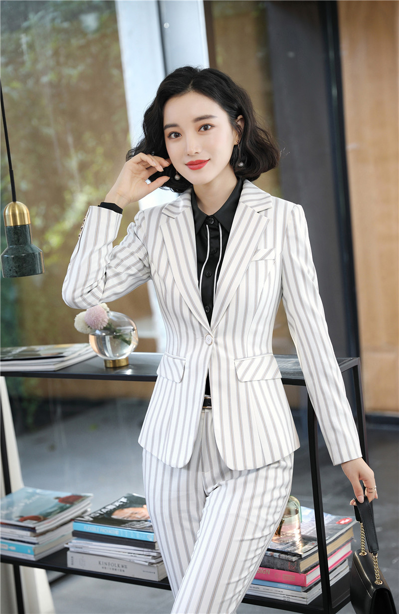 Fashion Striped OL Styles Women Pantsuits Formal Professional With Pants And Jackets Coat For Ladies Office Work Wear Blazers