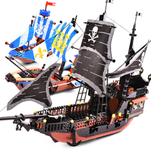 QWZ Jack Captain's Boat Black Pearl Legoes Building Block Bricks Pirates of Caribbean Toys Children Christmas Gifts new arrival gudi 9115 pirates of the caribbean series black pearl jack sparrow figure building block toys