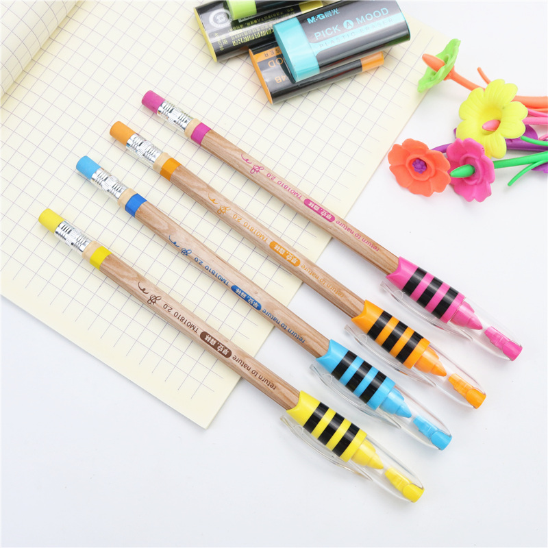 2PCS Cute Little Bee Automatic Pencils With Mini Pencil Sharpener And Eraser Pen Cap Protection Nib School Pencil Stationery