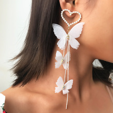 Lexie Diary 2020 New Arrival Fashion Exquisite Romantic Love Heart Pearl Butterfly Long Earrings for Women Accessory Jewelry