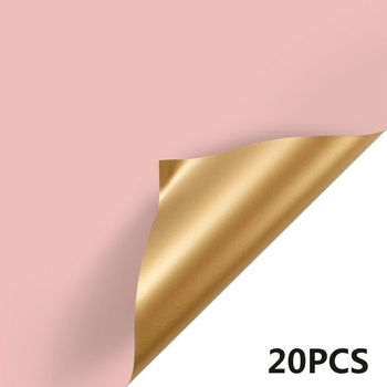 20 Sheets 23.6X23.6 Inch Two-color Double Sided Golden Flower Wrapping Paper K4UA - discount item  18% OFF Festive & Party Supplies
